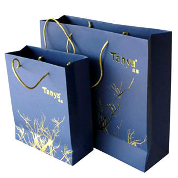 Luxury hot stamping gold paper bag 1)Material:One side coated ...