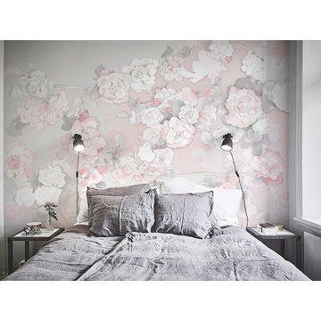 China Gris Chinoiserie Painting Design Begonia Elegant Wallpaper Border Wall Mural Interior Room Decor