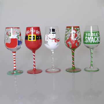 China Cute Merry Christmas Gift Hand Painted Wine Glass From