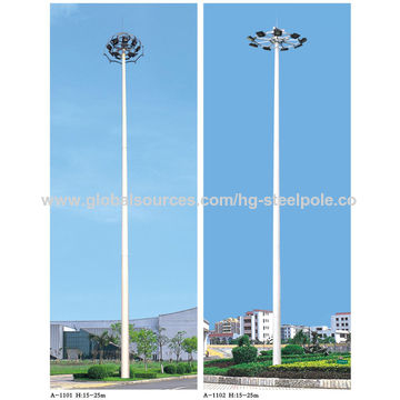 China Q345 18m Anti-rust Conical Flood Lighting Pole with Lifting System