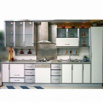 Laminated Panel Kitchen Cabinet Doors With Aluminum Plastic Frame Includes Spice Shelf With