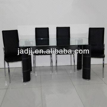 China Cw196 Pvc Leather Legs Mdf Shelf Tempered Gl Dining Table
