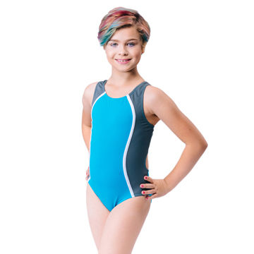 1a4e608c49 China Girls' competition swimwear, contour side seams with contrast piping;  UPF50+ fabric ...