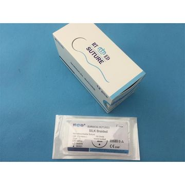 China Non-Absorbable Silk Braided Surgical Sutures with Needle 75cm