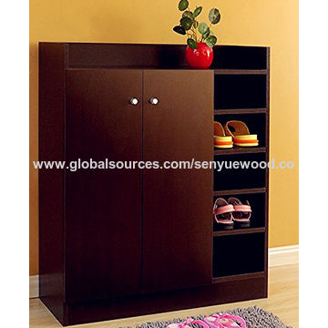 China Dark Brown Wood Tall Modern Shoe Cabinet From Manufacturer