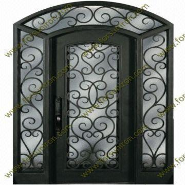 China 2014 New Design Wrought Iron Door With Transom And Sidelights