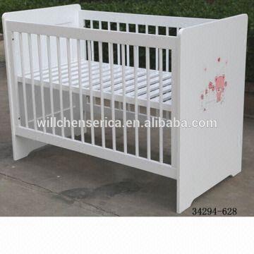 Taiwan 2017 New Design 34294 628 White Pine Wood Solid Baby Crib