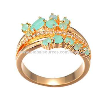 China Beautiful blue stone with 18k plating gold ring for girl on