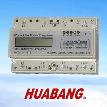 3 phase 4 wire din rail electric kilowatt hour meter LCD