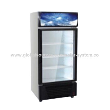 Display Fridge For Shop With Glass Door And Solar Panel And Lithium