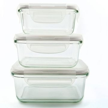 ... China Rectangular Airtight Pyrex Borosilicate Glass Food Storage  Container Set/snapware