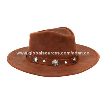 Brown suede cowboy hat with metal decoration on the belt  725116159c16