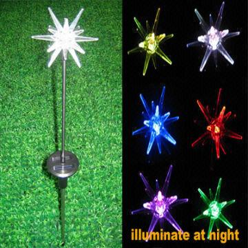 China Outdoor Star Burst Solar Stick Light With Multi Color Led