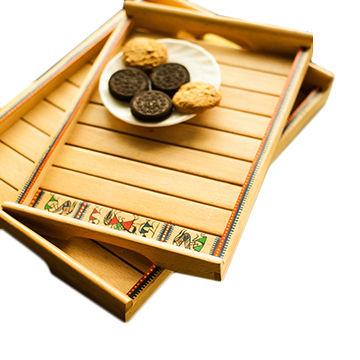 Attirant ... India Hand Painted Wooden Tray Set