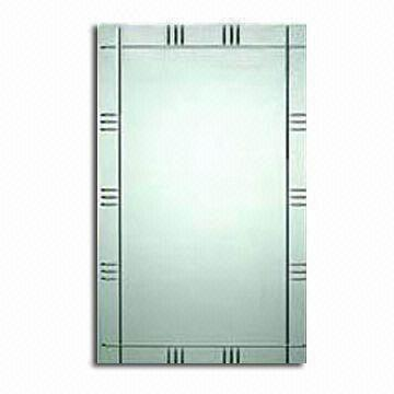 china frameless beveled wall mirror with v-grooved finish
