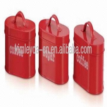 China 3pcs Kitchen Storage Tea Sugar Coffee Canisters Oval Red Canister Set
