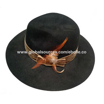 f7bc1b13af6c4 China Men s Down Brim Woolen Felt Hat with Velvet Hat Band and Feather ...