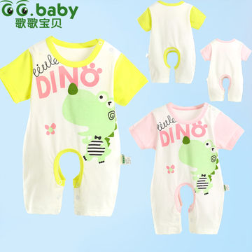 bb9a3e2ad Cute Summer Newborn Baby Clothing Creepers Dinosaur Baby Girl Baby ...