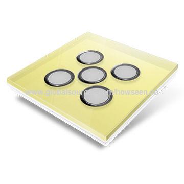 China Smart Home Wireless Light Switch, Yellow Glass Panel, 1-gang