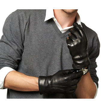 China Men's black leather gloves with real fur lining