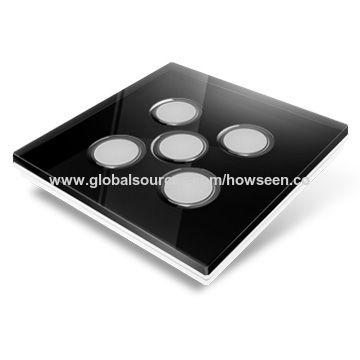 China Smart Home Wireless Light Switch, Black Glass Panel, 3 Gang