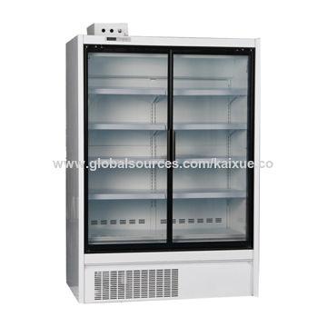 Double Glass Door Supermarket Commercial Upright Display Freezer For
