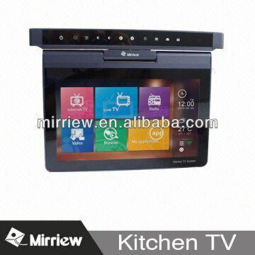 mirriew 10 1 39 39 flip down kitchen tv under cabinet portable kitchen tv global sources. Black Bedroom Furniture Sets. Home Design Ideas
