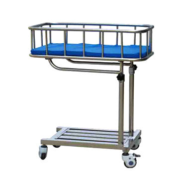 China Stainless Steel Hospital Furniture Sticking Baby Trolley
