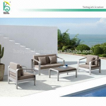 Metal Frame Sofa Dark Grey Color Teak Wood Table Set