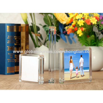 "China Clear Acrylic Photo Frame, 8x10"", Magnetic Block, Round Corner Frameless Desktop Photograph Display"