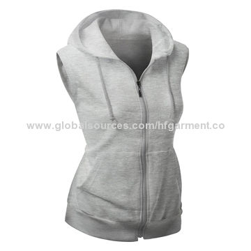 China Women's Cotton Zip Up Hoodie Vest from Fuzhou Manufacturer ...