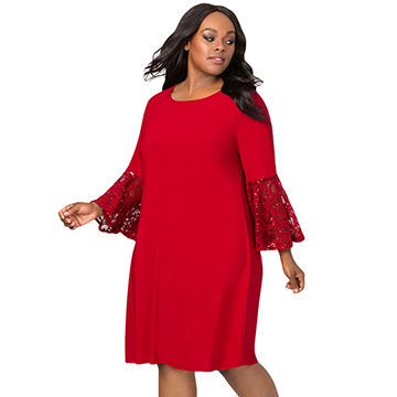 China Wholesale Price Lace Bell Sleeve Plus Size Mini Dress,Made of ...