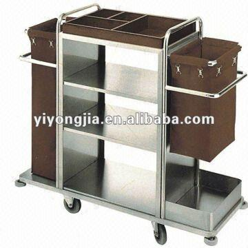 China Cleaning Trolley Steel Hotel Housekeeping Cart Clean Hands Laundry
