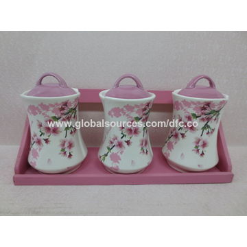 Olive Handpainted Ceramic Tea Coffee Sugar Canisters Set With Bamboo