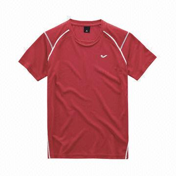a551dfde China Men's polyester sports T-shirts made of polyester mesh in red, ...