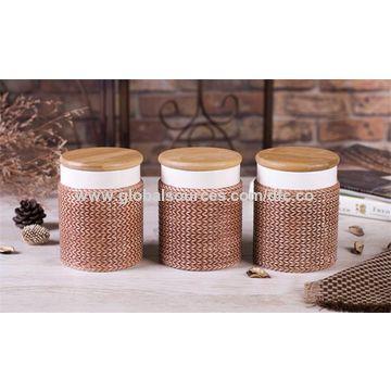 Olive Handpainted Ceramic Tea Coffee Sugar Canisters Set