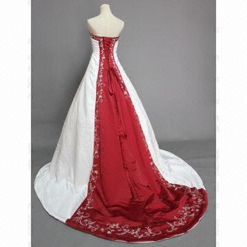 Red/White Wedding Dress with Lace-up or Zipper Back, ODM Orders are ...