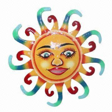 Metal Sun Face Decoration Handpainted sun face Wall hanging Home ...