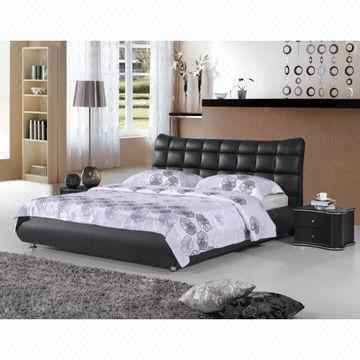 China Modern New Style Simple Soft Top Grain Leather Bed Price High Quality