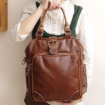 leather purse messenger backpack hand bag tote brown 3way handbag ...