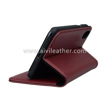 China Cowhide Leather Wallet Case for iPhone X