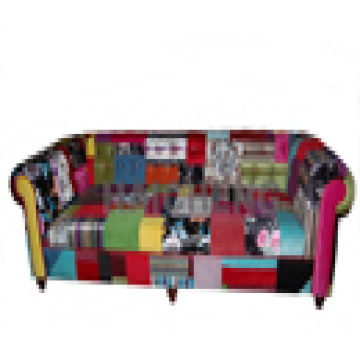 China Three Seater Patchwork Sofa Colorful Fabric