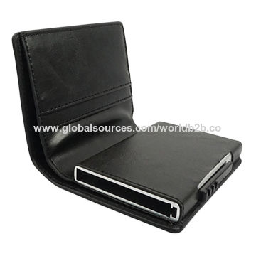 797c2353046e China Custom Men s RFID Blocking Leather Push Button Aluminium Credit Card  Holder Wallet ...