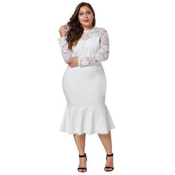 China Women Lace Long Sleeve Plus Size Sheath Dress Clothing on ...