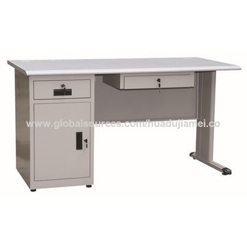 Beau ... China Steel Office Desk With 3 Drawers And Keyboard And 25mm Particle  Board Desktop ...