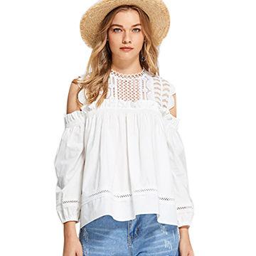 d998d6eff28923 China Apparel Summer Blusas Off Shoulder Ladies Elegant White Lace Woman  Blouse Tops ...