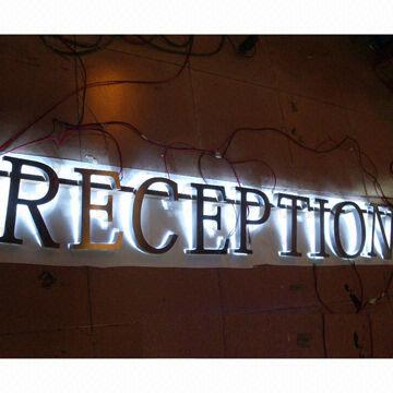 China Custom stainless steel LED backlit signs, outdoors illuminated