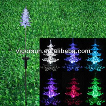 2014 Latest Rgb Led Color Changing Solar Christmas Tree Light with ...