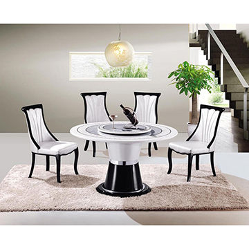 China Hot Sale Home Luxury Round Rotating Marble Dining Table