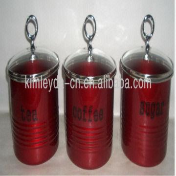 China Tea Sugar Coffee Gl Lid Metal Storage Jars